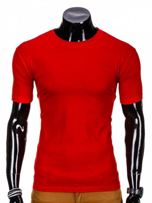 Tricou pentru barbati rosu simplu slim fit mulat pe corp bumbac S620