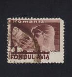 ROMANIA 1936 - FONDUL AVIATIEI EROARE IMPRIMARE PARTIALA CIRCULAT