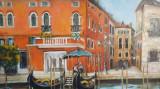 "PICTURA, TABLOU modern,""Doua Gondole in Venetia "", nou, pictor roman consacrat"