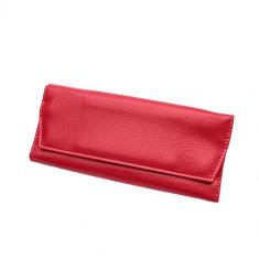 Cutie pentru bijuterii din piele sintetică roșie, detalii aurii