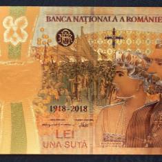 Romania 100 lei 2018 centenar Fantezie polimer placat cu Aur UNC **