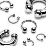 Piercing din oțel 316L - potcoavă simplă cu două bile, lățime 3 mm