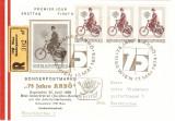 TRICICLU MOTORIZAT 75 ANI ANIVERSARE AUSTRIA FDC 1974
