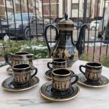 Serviciu de cafea grecesc din ceramica, pictat manual cu aur 24K, alcatuit din 11 piese