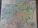 Harta orasului Bucuresti, interbelica, uriasa, 90/70 cm, caserata, impecabila