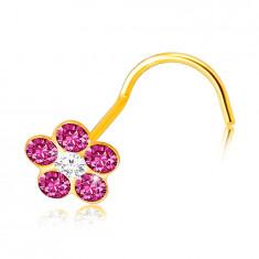 Piercing din aur galben 9K cu capăt curbat - floare roz, zirconiu clar