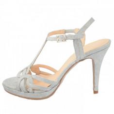 Sandale dama, din piele naturala, marca Brenda Zaro, T2566A-18-84, argintiu , marime: 38