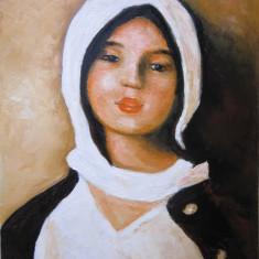 Tablou Portret fata cu basma alba semnat Cimpoesu, Portrete, Ulei, Realism
