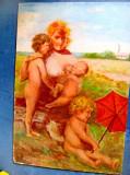 8472-Nagy M. Arad-Femeie cu 3 copii nud neterminat nesemnat.