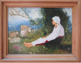 Tablou / Pictura ciobanita semnat Cimpoesu dupa Grigorescu