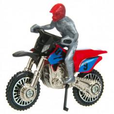 Motocicleta de jucarie in miniatura cu motociclist,6x3x5,5 cm, scara 1:24, rosu