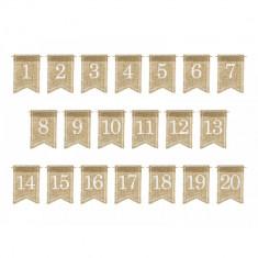 Numere de masa din iuta, 7x10.5cm, 20buc/set