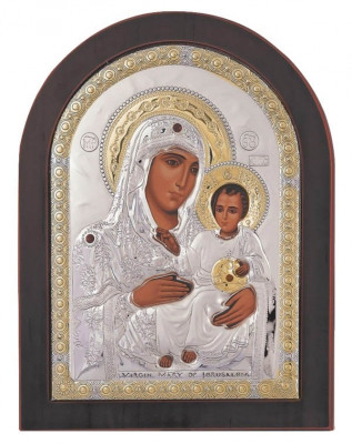 Icoana argintata Maica Domnului de la Ierusalim 7.5x9.5 cm Cod Produs 1646 foto