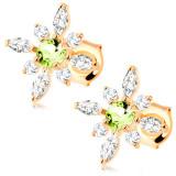 Cumpara ieftin Cercei din aur galben 9K - floare cu zirconii transparente și olivină verde