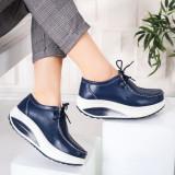Pantofi dama Piele casual albastri Bunazi