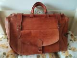 Geanta mare de voiaj piele vintage, lucrata manual