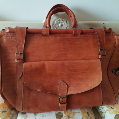 Geanta mare de voiaj, piele, vintage, lucrata manual