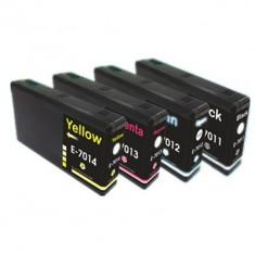 Set 4 cartuse imprimanta Epson T7011 T7012 T7013 T7014 14XL compatibile capacitate mare, Multicolor, Original