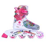Role reglabile copii Action Doly cu roti iluminate-roz