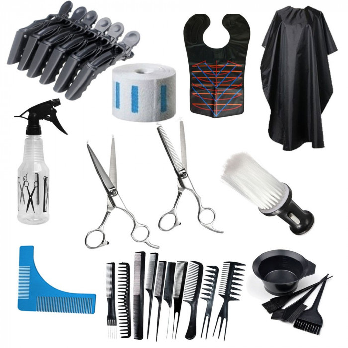 Set kit frizerie coafor foarfeca tuns filat pelerina tuns vopsit piaptan barba