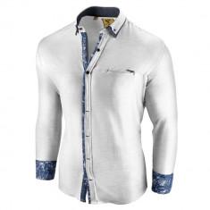 Camasa pentru barbati slim fit alba casual cu guler sedna brighton