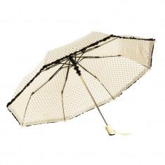 Umbrela pliabila crem cu mici inimioare negre, margine fronsata neagra, deschidere automata, ∅ 112cm