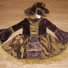 costum carnaval serbare rochie medievala domnita pentru copii de 6-7 ani
