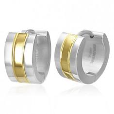 Cercei din oțel chirurgical - verigi în două culori - argintiu și auriu