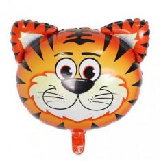 Balon mare pentru petreceri copii, cap de tigru, 54x54cm, Heliu sau Aer