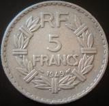 Moneda istorica 5 Franci - FRANTA, anul 1949  *cod 4577 - ALUMINIU