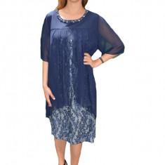 Rochie eleganta Kayla cu aplicatii de margele,nuanat de blemarin, Bleumarin, 50, 52, 54, 56, 58