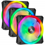Kit 3 Ventilatoare Corsair iCUE QL120 RGB 120mm Black