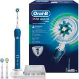 Periuta de dinti electrica Oral-B PRO 4000 Cross Action, reincarcabila, curatare 3D, 4 programe, 3 capete, albastru