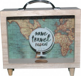 Cumpara ieftin Pusculita din Lemn,Save Travel Repeat, 21 x 7 x 22 cm