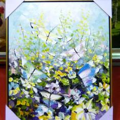 Tablou pictat manual pe panza in ulei Fluturi A-271, Natura, Realism