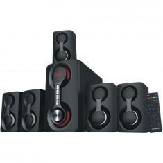 Boxe 5.1canale, SoundRise 51105W, putere totala 105W RMS, Bluetooth, USB, AUX, SD, Radio FM, negre