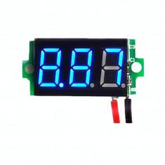 Voltmetru digital leduri albastre, 3.5 - 30 V, culoare negru, 3 digit si 2 fire