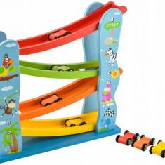 Set Pista de Curse din Lemn cu 4 Masinute Colorate pentru Copii
