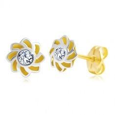 Cercei din aur de 14K - floare cu petale ascuțite și zirconii în mijloc