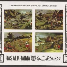 RAS AL KHAIMA 1969 PICTURA ANOTIMPURILE ( bloc ndt. ) MNH