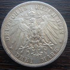 (A706) MONEDA DIN ARGINT GERMANIA, PRUSIA - 3 MARK 1912, LIT. A, WILHELM II