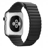 Curea piele pentru Apple Watch 44mm iUni Black Leather Loop