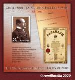 ROMANIA 2020, Tratatele de Pace de la Paris, 1919–1920, colita, MNH, 2305b, Nestampilat