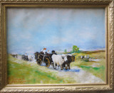 Pictura car cu boi semnat Cimpoesu dupa Grigorescu