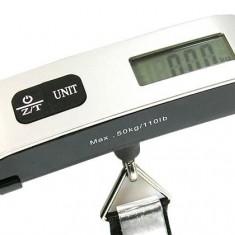 Cantar portabil electronic de mana cu afisaj de temperatura, pentru bagaje - Ideal pentru vacante