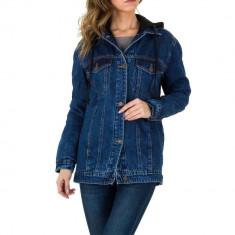 Jacheta moderna, de culoare albastra, cu gluga - Laulia