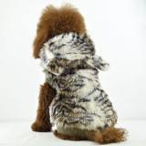 Jacheta caini cu blana falsa - model tigru, cu gluga, XL