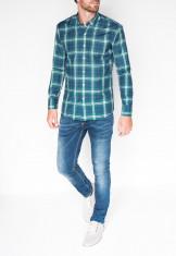 Camasa pentru barbati, verde, cu model, slim fit, casual, carouri, cu guler - k405 foto