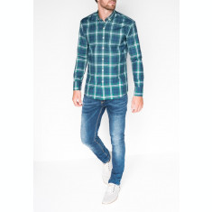 Camasa pentru barbati, verde, cu model, slim fit, casual, carouri, cu guler - k405