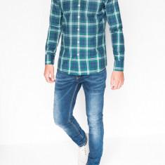 Camasa pentru barbati verde cu model slim fit casual carouri cu guler k405